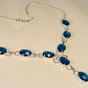 "Genuine Blue Topaz faceted gemstone necklace 18"""